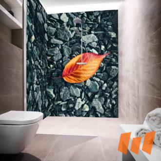 Schotter Steine Blatt Grau Orange