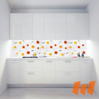 Orangenscheiben Grapefruitscheiben Marmorplatte